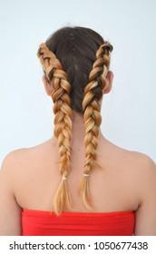 Teenage girl with modern hair braids kanekalon natural colors