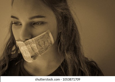 A teenage girl with a mouth taped. European type, blonde, long hair. The mouth is closed by the dollar. Eyes are looking to the side, down. Domestic coercion, violence. Retro style, vignetting.