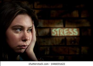 Teenage girl near a brick wall that has the word stress written in chalk