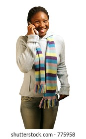 A teenage girl on a cell phone about to laugh. With clipping path.