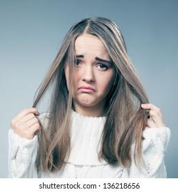 teenage girl on her bad hair day