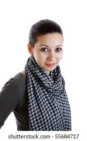 Teenage girl on isolated white background