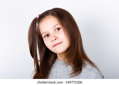 teenage girl on a light background. portrait