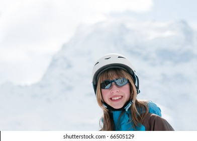 Teenage girl on ski - portrait ( space for text)
