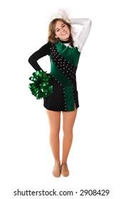 Teenage Girl In A Pom Pon Uniform