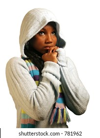 A teenage girl praying.  Isolated with clipping path.