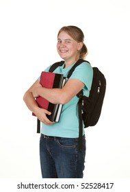 teenage girl ready for college on white background