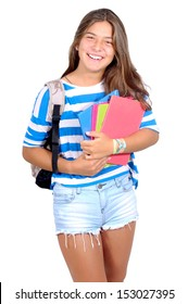 teenage girl with school books isolated in white