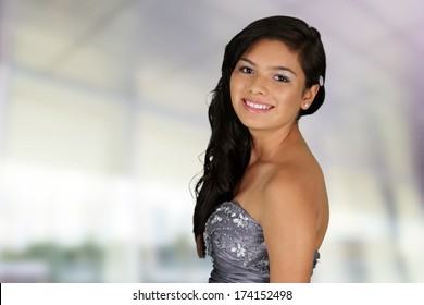 Teenage girl set against a white background