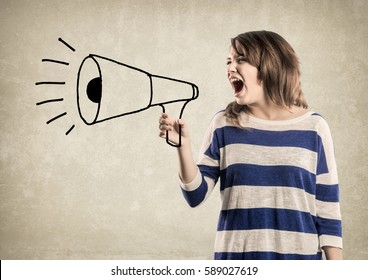 Teenage Girl, shouting in a  hand drawn Megaphone. Nice texture Wall Background.