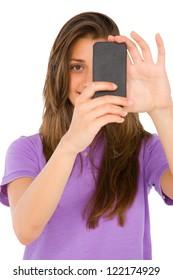 teenage girl with smartphone