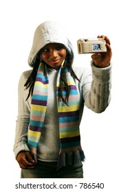 A teenage girl taking her own picture.  Isolated with clipping path.