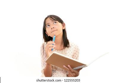 A teenage girl uneasy look