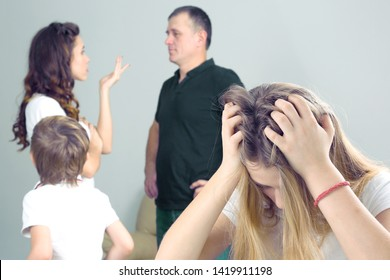 teenage girl was upset because of the conflict parents. the problem of the relationship between parents and children