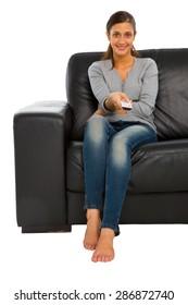 teenage girl watching tv