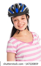 Teenage girl wearing a bicycle helmet. Isolated on white studio background.