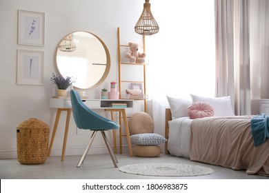 Teenage girl's bedroom interior with stylish furniture. Idea for design - Shutterstock ID 1806983875