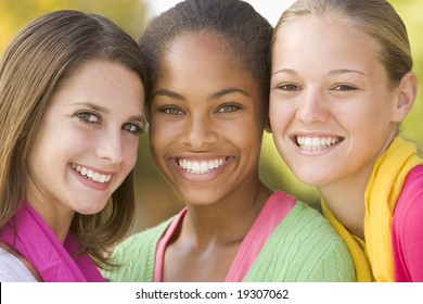 Teenage Girls Outside Smiling