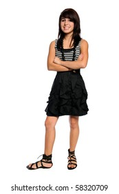 Teenage Hispanic girl standing with arms crossed isolated over white background