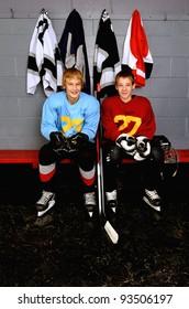 Teenage Hockey Players in Locker Room in