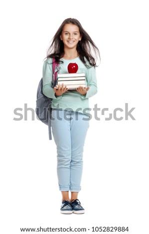 6f84e31ae30e Teenage Schoolgirl Holding Books Red Apple Stock Photo (Edit Now ...