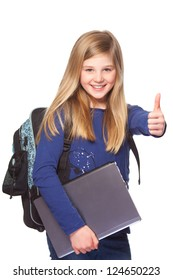 teenage schoolgirl with laptop and school bag  smiling and thumbs up
