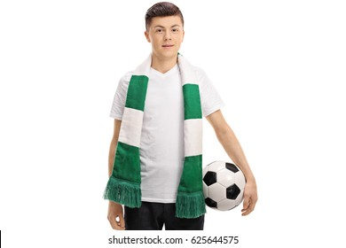 Teenage soccer fan with a scarf and a football isolated on white background