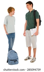 teenage students with backpack and books