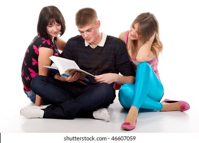 teenage students over a white background