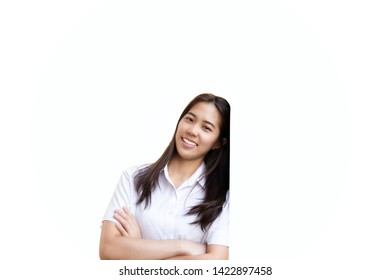 Teenage woman studen with crossed hands smiling in clipping path.
