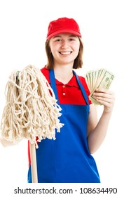 Teenage worker holding up a wad of cash.  Isolated on white.
