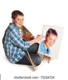 Teenager artist making a self-portrait artwork painting