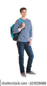 Teenager with backpack standing on white background