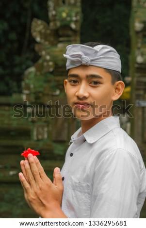 Teenager Bali Using Traditional Balinese Clothing Stock Photo Edit