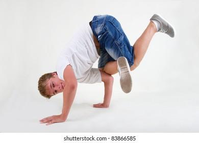 Teenager bboy training on white background
