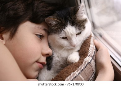 teenager boy and cat in cozy cat bed nest sleeping on the weekend morning close up photo