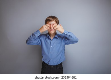 teenager boy Caucasian appearance eyes closed hands