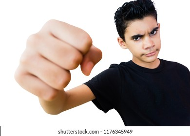 Teenager boy shake his fist aggressively isolated on white.