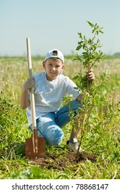 Teenager boy with spade planting tree outdoor