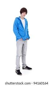 Teenager boy standing - isolated