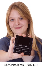 Teenager with a cell phone with full keyboard