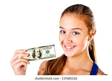 teenager with dollars isolated on a white background
