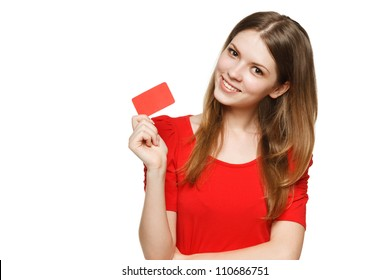 Teenager female holding empty credit card, over white background