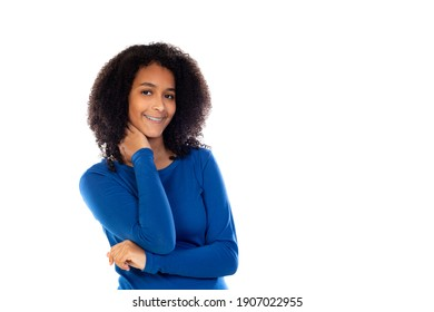 Teenager girl with afro hair wearing blue sweater isolated on a white background