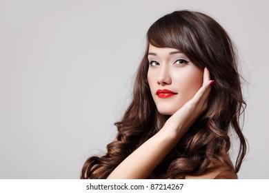 teenager girl beautiful hair cheerful enjoying isolated