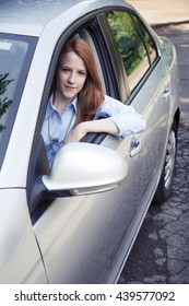 Teenager girl with car