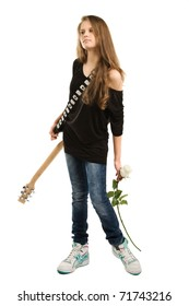 Teenager girl with electric guitar against white background