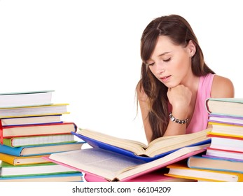 Teenager girl with group book . Isolated.