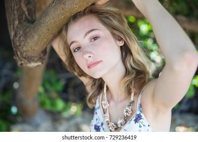 Teenager girl senior portrait