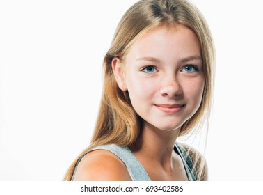 Teenager girl woman female portrait freckles face isolated on white